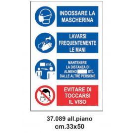 Cartello emergenza covid-19 33x50 cm riepilogo obblighi ed informazioni