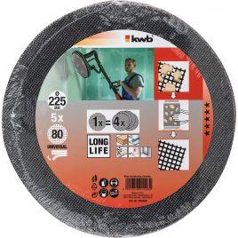 5 dischi abrasivi grana 80 diam. 225 kwb