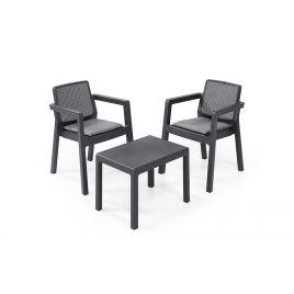 Tavolo e sedie da esterno set arredo salotto keter emily balcony antracite per terrazzi e balconi 247065