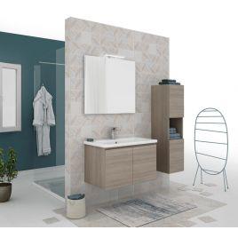 Mobile bagno sospeso 80 cm moderno  con lavabo, specchio e lampada