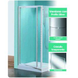 Porta doccia girevole tris g90 cristallo trasparente profilo silver