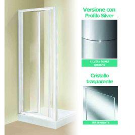 Porta doccia a soffietto tris s85 profilo silver cristallo trasparente