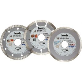 Set 3 dischi troncatori diamantati 115 kwb