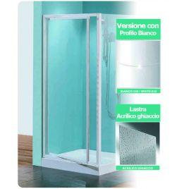Porta doccia girevole tris g90 lastra acrilico profilo bianco