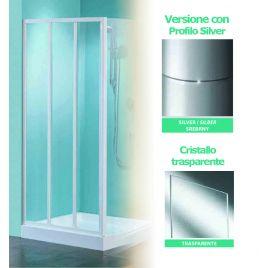 Porta doccia a 3 ante scorrevoli tris p85 profilo silver cristallo trasparente