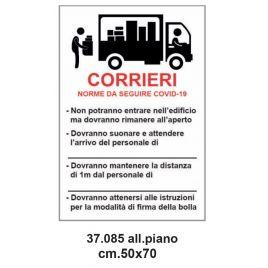 Cartello emergenza covid-19 33x50 cm norme per i corrieri