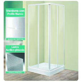 Angolo doccia 70x90 tris a2 lastra acrilico profilo bianco