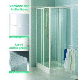 Angolo doccia 68/78x68/78 tris a lastra acrilico  profilo bianco